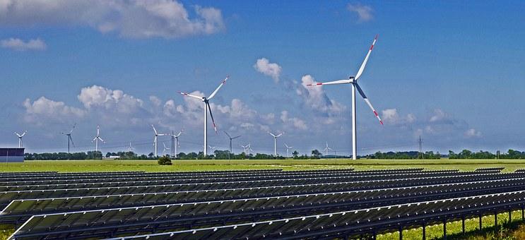 zonnepark, windmolens